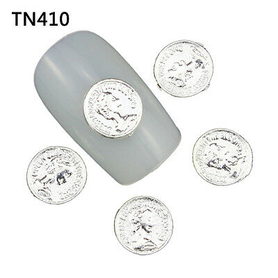 Blueness 10pcs 3D DIY Nail Art Metal Silver Charms Manicure Decorations TN410
