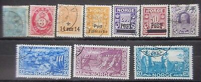 Norway Selection of 10 Early Used Stamps.