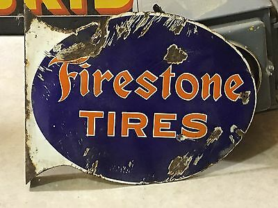 ORIGINAL Early Vintage FIRESTONE TIRES Flange Sign Gas Oil Station OLD Porcelain