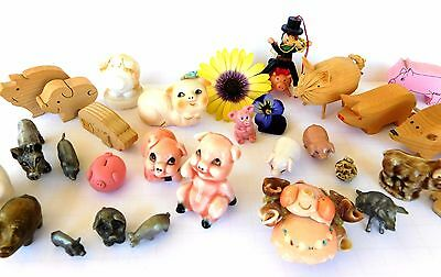 Instant PIG Collection Miniatures, Hagen Renaker, Handmade, Pewter Lot of 30