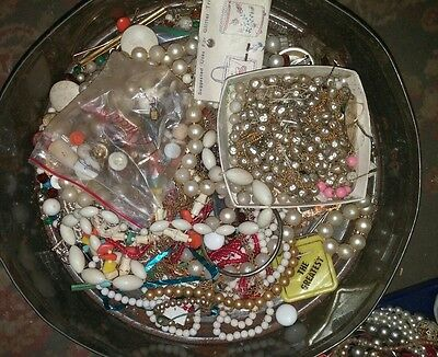 Junk jewelry lot Beads Broaches Necklaces watches etc