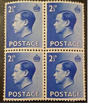 1936 EDWARD VIII 2 1/2d BLOCK OF 4 SG 460 MNH