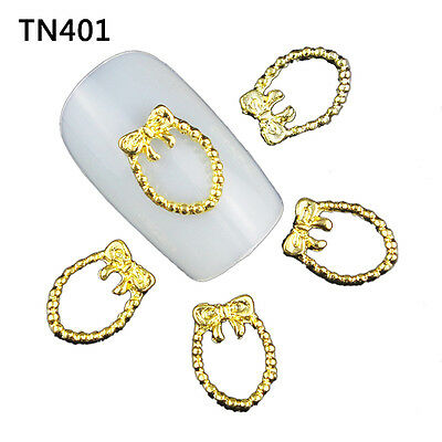 Blueness 10pcs 3D DIY Nail Art Metal Gold Decoration Manicure TN401