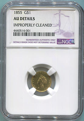 1855 $1 One Dollar Gold Liberty Head, NGC AU Details