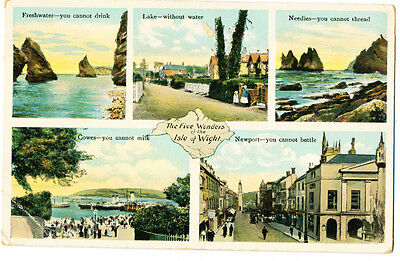 Vintage postcard The Five Wonders of the Isle of Wight