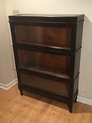 ANTIQUE BARRISTER BOOKCASE GLASS DISPLAY SHELf 3 SECTIONS w LEGS & TOP By: HALE