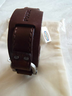 Men's Fossil Leather BRACELET NEW with fossil cloth bag BNWT in brown