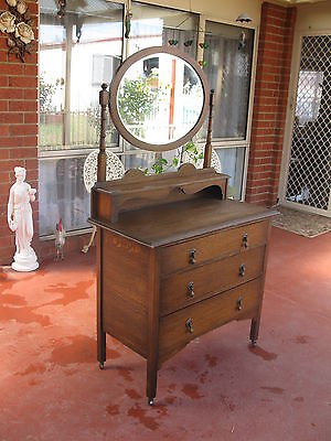 Antique Dressing Table C/w Tilting Mirror Very Original Condition