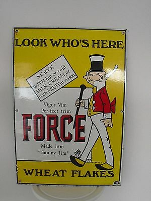 "Great Original ""Sunny Jim"" Force Wheat Flakes,Enamel Porcelain Sign,Advertising"
