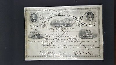 1856 Ohio and Pennsylvania Rail-Road Company Stock Certificate
