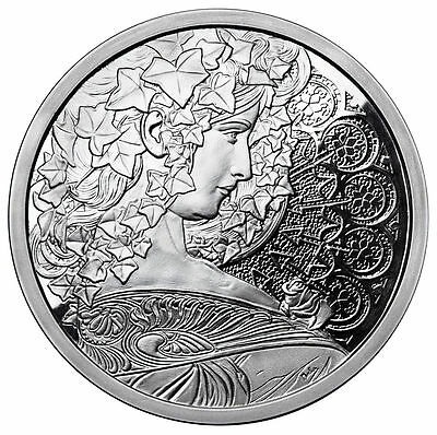 Alphonse Mucha 1 0z .999 silver coin IVY #5 in Art series collection limited COA