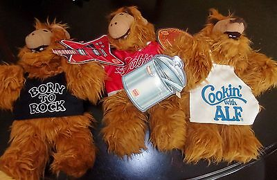 VINTAGE ALF BURGER KING PLUSH DOLL HAND PUPPETS Lot of 3 COOKING ROCK BASEBALL