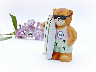 """Enesco Lucy & Me BEAR Figurine 1989 Chillin' Surf Club Surfer 2 1/2"""" Lucy Rigg"""