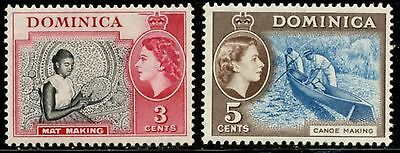 DOMINICA Sc#157 &158 SG#144 &147 1957 QEII 3c & 5c Added Values Mint LH