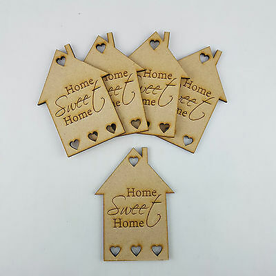 5x MDF Wooden House Home Shapes Tags engraved embellishments Craft Blanks