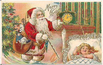 Santa Claus Filling Stockings While Child Sleeps Christmas Postcard