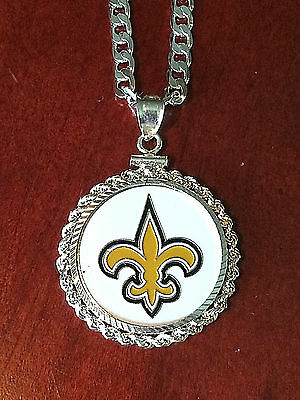 HEAVY SILVER NECKLACE KEYRING W/ NFL NEW ORLEANS SAINTS a SETTING JEWELRY GIFT