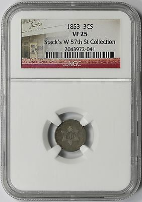 1853 Three-Cent Silver Trime 3CS VF 25 NGC Stack's W 57th St Collection