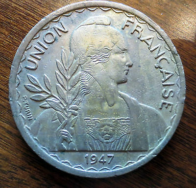 French Indo China 1 Piastre 1947. Coin This area is now Vietnam, Laos & Cambodia