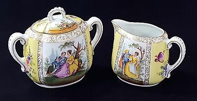 Dresden Grossbaum & Sons C1895 LIDDED SUGAR & CREAM Quatrefoil Watteau GORGEOUS!