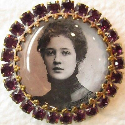 "Gorgeous Purple Rhinestones-Marked Button~""picture Of Lady""vintage Antique Style"
