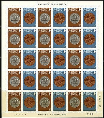 GUERNSEY Sc#176,180,184 SG#180a &180b 1981 Coins Booklets - Two Full Sheets MNH