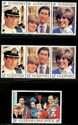 GUERNSEY Sc#224-26A, 227-31, 236-54 1981-1982 Six Complete Sets + One SS Mint NH
