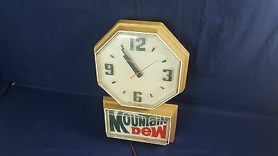 Vintage Mountain Dew Lighted Clock Plastic Case WORKS Impact Intnl Good Cond