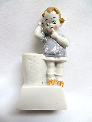 Vintage 1940's Germany Luster Porcelain Figural Toothbrush Holder ~ Little Girl