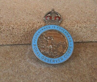 WW2 Royal Observer Corps forewarned is forearmed lapel badge .