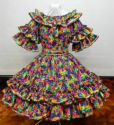 New !!! 2 Pc Mardi Gras Madness Square Dance Party Sissy Dress