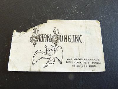 Vintage 70's or 80's Swan Song Records Business Card Led Zeppelin