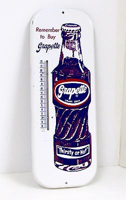 Vintage Grapette Grape Soda Pop Tin Thermometer Advertising Sign Excellent+