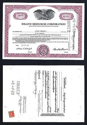Inland Resources 500 share common stock with US revenue on back 1956 - Lot # 124