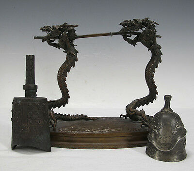 Meiji Bronze Japan Trade Export Dinner Gong Dragons Chinese Bronze Age Bell  yqz