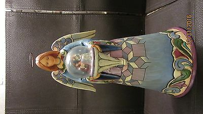 "Jim Shore ""Cherish The Newborn King"" Angel with Holy Family Mini Globe 2010"
