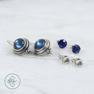 Sterling Silver | (QTY 3 Pair) Assorted Blue Crystal Earring 8.5g | Lot NA9823