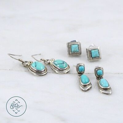 Sterling Silver | (QTY 3 Pair) Southwestern Assorted Turquoise Earring 9g | Lot