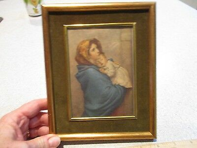 Vintage gilded Framed Mary and Jesus Madonna and baby Jesus Print 5X7