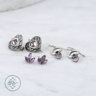 Sterling Silver | (QTY 3 Pair) Assorted Amethyst Heart Earring 10.5g | Lot