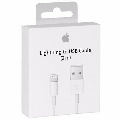 Apple USB Charger 2M Lightning Sync Data Cable Lead Genuine for iPhone 7 6+ 5 5S