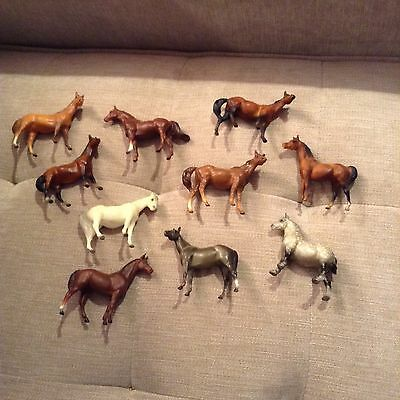 Breyer horse stablemate lot of 10 bay chestnut dapple gray draft