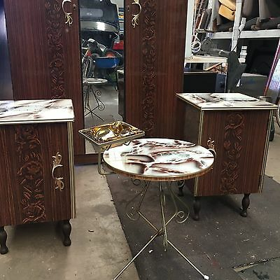 Retro Matching Mirror Wardrobe, 2 Bedside Drawers and Smoking Side Table
