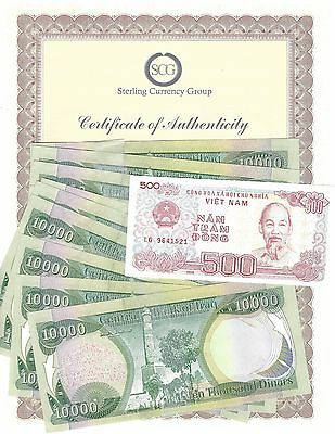 250,000 = 25 X 10,000 UNC Iraqi Iraq Dinar 1/4 Million + Certificate + Bonus