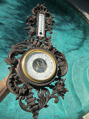 French  Victorian Carved walnut  Wood thermometer/barometer by Marti #1