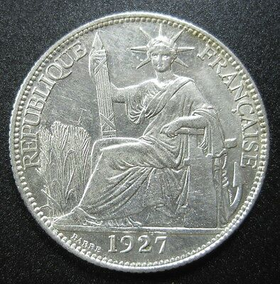 French Indo China 20 Cents 1927 A Silver Bu+ #o High Grade Vietnam Laos Fic Coin