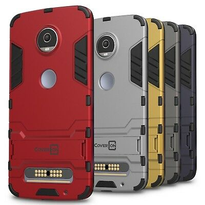 CoverON for Motorola Moto Z2 Play Case Hybrid Stand Armor Slim Hard Phone Cover