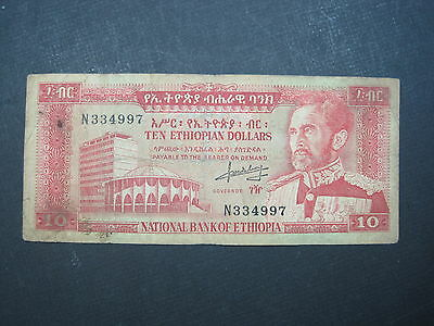 Ethiopia 10 Dollar 1966 P27 Haile Selassie Africa World Banknote Paper Money