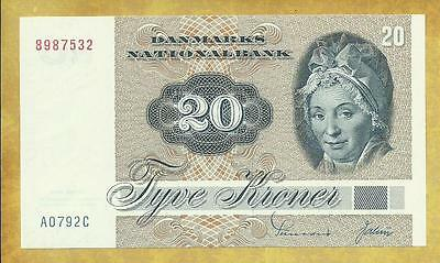 Denmark 20 Kroner 1972 P-49a Prefix A2 XF-AU Currency Banknote ***USA SELLER**