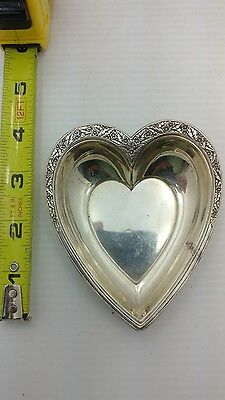 Vintage Sterling Silver Valencia Heart Shaped Dish Bowl